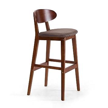 DZW Retro taburetes de cocina con taburetes de madera maciza de PU de Barra de desayuno de asiento, soporte de madera maciza, la altura del asiento de 75 cm para la barra de contador de cocina , 4 Suave y fuerte