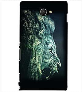PrintDhaba Lion Roar D-1154 Back Case Cover for SONY XPERIA M2 (Multi-Coloured)
