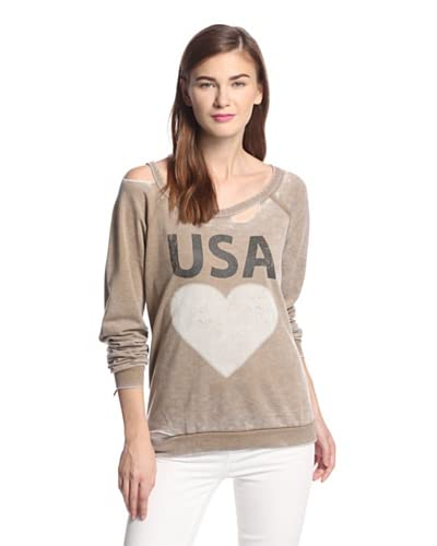 Chaser Women's USA Heart Deconstructed Sweatshirt