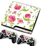 Bundle Monster Vinyl Skin Sticker For PlayStation PS3 S SLIM Game Console - Cover Protector Art Decal - Pink Roses