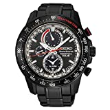Seiko Sportura Solar Black Ion 100 M Black Stainless Steel Chronograph Watch SSC373 thumbnail
