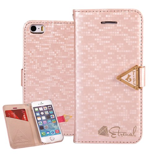 Moon Monkey Bling High Quality Crystal Fashion Design Leather Wallet Type Magnet Design Flip Case Cover For Iphone 5S/5 (Champagne)