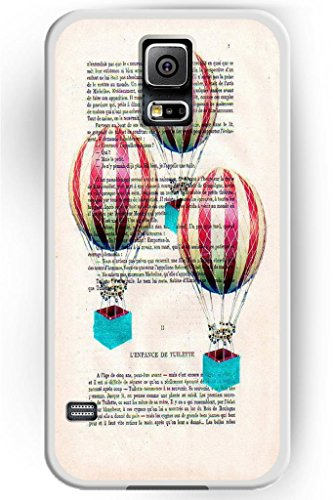 Sprawl Beautiful Vintage Design Hard Shell For Samsung Galaxy S5 Hard Plastic Back Case For Women -- Retro Air Ballon In Newspaper