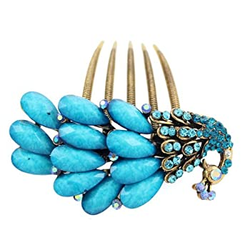Antique Brass Rhinestone Peacock French Twist Comb Blue