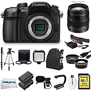 Panasonic LUMIX DMC-GH4 16.05MP Digital Single Lens Mirrorless Camera with 4K Cinematic Video (Body) + Panasonic Lumix G X Vario 12-35mm f/2.8 Asph. Lens for Micro 4/3 (Black) + Videographer's Essentials Kit