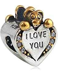 I Love You Charm 925 Sterling Silver Bear Bead Fit Pandora Charms