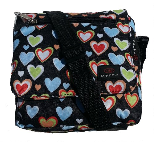 Small Size Girls Courier or sling style messenger bag Black hearts pattern travel cabin or hand luggage school