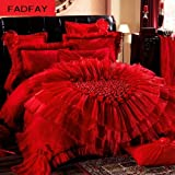 FADFAY Home Textile,Beautiful Korean Wedding Bedding Set Red,Luxury Lace Ruffles Duvet Cover Bedding Set Queen,10Pcs
