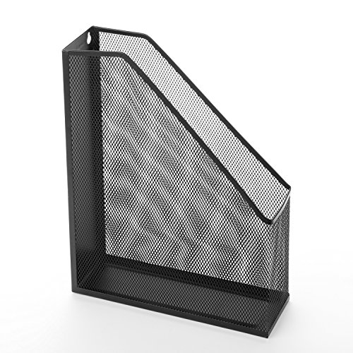 wire mesh wall mounted or freestanding document rack magazine and file holder black office. Black Bedroom Furniture Sets. Home Design Ideas