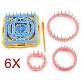 SODIAL(R) 9PCS Flower Knitting Loom Flower Pattern Maker Wool Yarn Needle Knit Craft