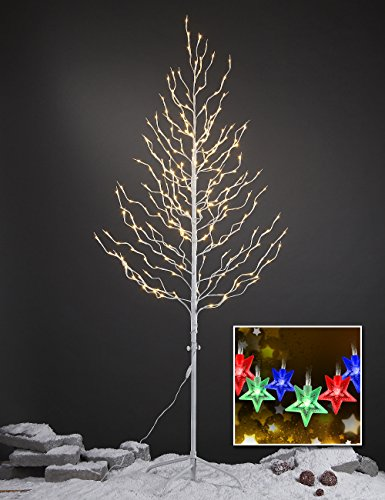 Lightshare™ New 6Ft 240L Led Star Light Tree,+Free Gift:10L Led Star Twinkling(Rgb)Decoration Light,Home/Festival/Party/Christmas,Indoor And Outdoor Use,Warm White