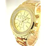 Geneva Yellow Gold Tone Classic Round Cz Ladies Boyfriend Watch. Faux Chronograph Design. Crystal...