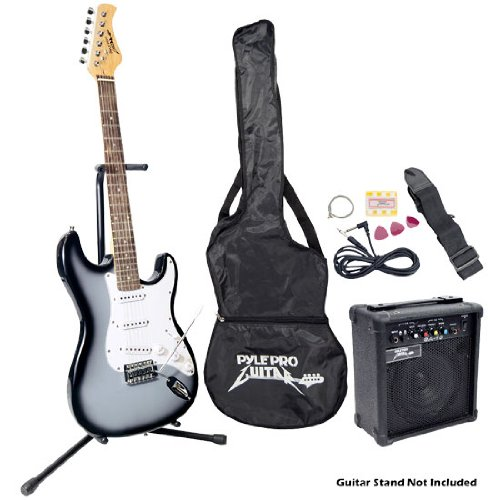 Pyle-Pro PEGKT15GS Beginner Electric Guitar Package Grey Silver