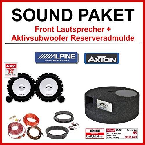 Alpine-Lautsprecher-und-Axton-Aktiv-Subwoofer-Soundpaket-fr-VW-Golf-4