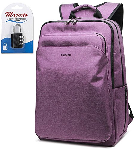 Laptop Backpack 17 Inch for Men and Women - Slim - Padded - Professional - Lightweight - Water Resistant - Ergonomic - With Bottle Holders - for Business and Travel + Padlock - Bundle - Purple