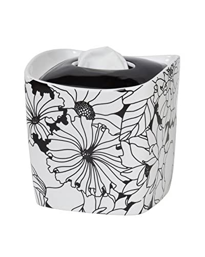 Creative Bath Floral Tissue Cover, Black/White