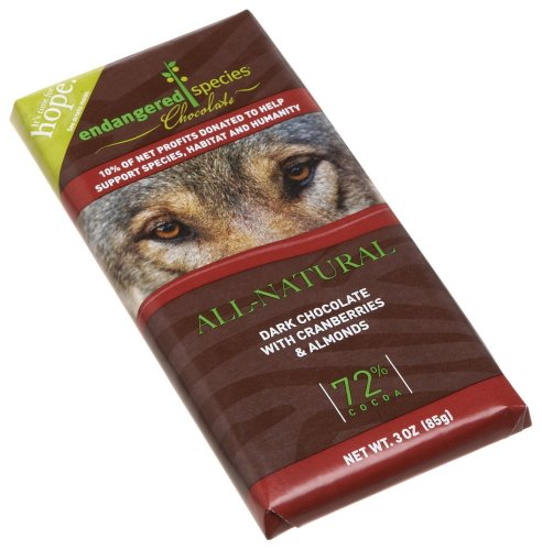 Endangered Species Wolf, Dark Chocolate (72%) with Cranberries & Almonds, 3-Ounce Bars (Pack of 12)
