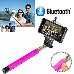 Memore Selfie Stick Pro with Built-in Bluetooth Remote Button on the Handle for Smart Clicks Apple & Android Devices