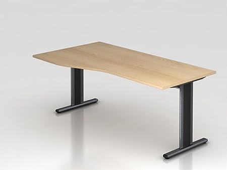 Scrivania Piede a T, 180x 100/80cm, rovere/silbe RCHW.