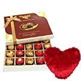 Valentine Chocholik's Belgium Chocolates - Expressive Surprise Of Chocolates With Heart Pillow