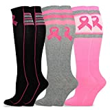 TeeHee Breast Cancer Knee High 3-Pack Socks - Big Pink Ribbon, Size 9-11, Multi color