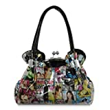 UKFS Designer Magazine Print Top Handle Handbag / Ladies Vogue Patent Leather Kiss Lock Closure Shoulder Bag (Red)