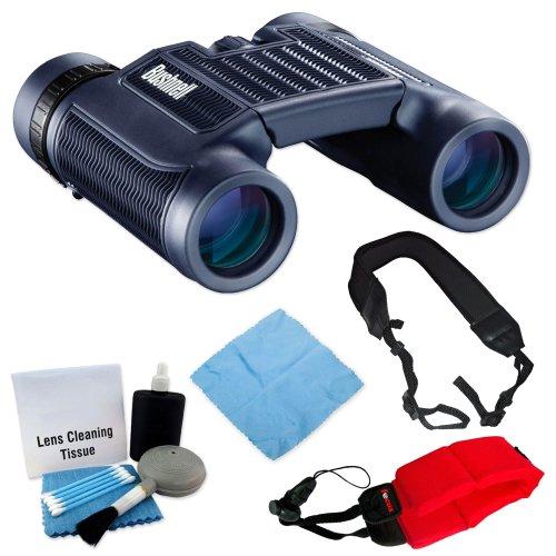 Bushnell 138005 H20 Waterproof 8X25 Black Binoculars + Foam Float Strap Red + Wide Strap + Cleaning Accessory Kit