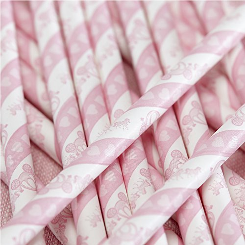 Ginger Ray Princess Party Carriage Paper Straws, Pink