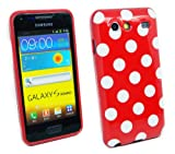 Kit Me Out UK TPU Gel Case for Samsung Galaxy S Advance i9070 - Red / White Polka Dots
