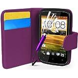 Supergets® Schlichte Einfarbige Hülle für HTC Desire C Brieftasche in Lederoptik, Schale mit Karteneinschub, Etui, Buchstil Geldbörse, Mit Schutzfolie, Mini-Eingabestift ( Nicht geeignet für HTC Desire X)