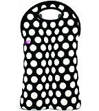 BUILT NY Original Designer Neoprene Wine/Water Bottle Tote 2-Bottle, Big Dot Black & White (2B-BBW)