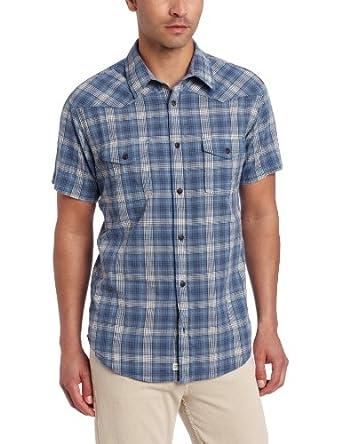 (新品) $14.00 Lucky Brand Men's Fly Short Sleeve Western 幸运男款蓝色格纹衬衫
