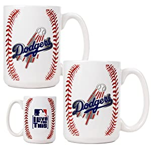 MLB Los Angeles Dodgers Two Piece Ceramic Gameball Mug Set - Primary Logo by Great American Products