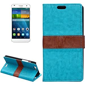 Crazy4Gadget Color Matching Flip Leather Case with Holder & Card Slots & Wallet for Huawei Ascend G7(Blue)