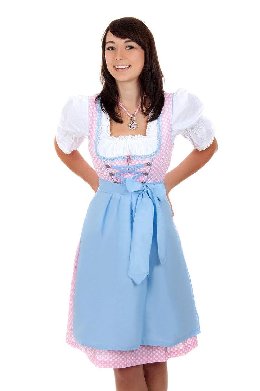 Mini Dirndl 3-tlg. rosa blau gepunktet mit passender Bluse und Schürze Gr. 32-50 günstig online kaufen