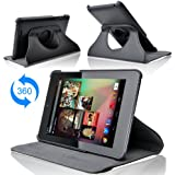 Bijason Black 360 Degree Rotating Leather case cover for Asus Google nexus 7