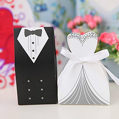 BUYBUYMALL 100Pcs Wholesale Wedding Party Favor Boxes Creative Tuxedo Dress Groom Bridal Candy Gift Box with Ribbon