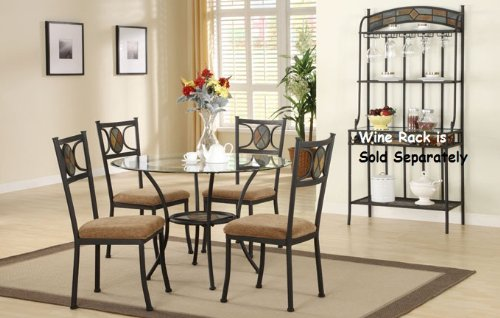 Cheap 5 PC. Set 8mm Round Beveled Glass Top Table and Fabric Seat Chairs (F2003)