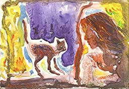 1 0 x 7, Girl looking at cat, watercolor original by Andrejs Bovtovics. FREE shipment.