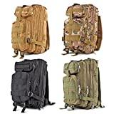 Flexzion Tactical Backpack Outdoor Military Unisex Rucksack Travel Molle Daypack Bag 30 L Capacity 600D Nylon for Camping Hiking Hunt Trekking with Multi Zippered Pocket