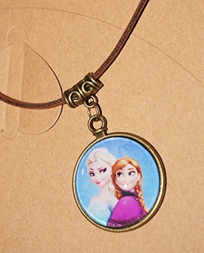 CJB Frozen Pendant Vintage Leather Necklace Elsa Anna Sister (US Seller)