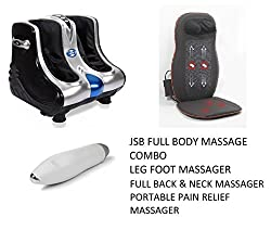 JSB HF05 Leg Foot Massager + JSB HF23 Full Back and Neck Massager + JSB HF56 Portable Pain Relief Massager (Full Body Massage Combo)