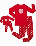 "Leveret ""Hearts"" 2 Piece Matching Kid & Doll Pajama Set 100% Cotton (8 Years)"