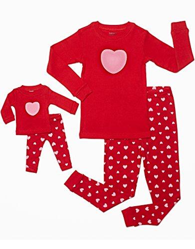 leveret-hearts-2-piece-matching-kid-doll-pajama-set-100-cotton-8-years