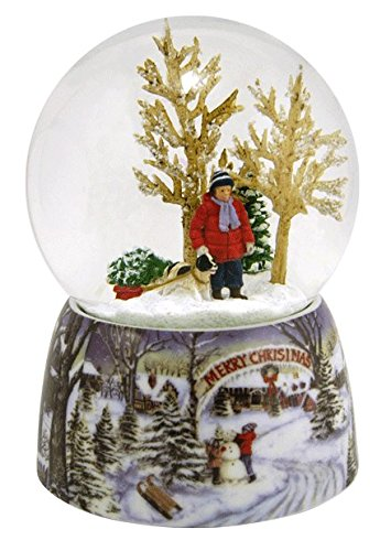 Merry Christmas Snowy Woodland Scene Music Snow Globe Glitterdome – 5.5″ Tall 100MM – Plays Tune Over the River and Through the Woods