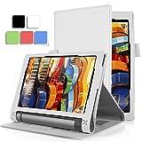 Lenovo Yoga Tab 3 10.1 ケース 【KuGi】 Lenovo Yoga tablet 3 10.1 専用カバー 超薄型 超軽量 スタンド機能付き 内蔵マグネット開閉式 高級PU レザー (ホワイト)