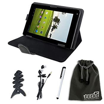 EEEKit For Fake Nextbook Premium 7/7SE Tablet Accessory Bundle, Universal Defy Case For 7 Inch Tablet + Slim Stylus Pen + Uncircumscribed Earphone + Fishbone Headset Wrap + EEEKit Vigilant Storage Pouch