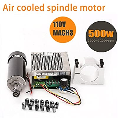 Generic CNC Spindle 500W Air Cooled 0.5kw Milling Motor and Spindle Speed Power Converter and 52mm Clamp and 13pcs ER11 Collet for DIY Engraving