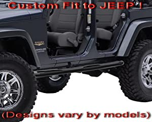 "2007-2013 Jeep Wrangler JK 4 Door 3"" Black Side Armor Step Nerf Bars Running Boards (Fit 4-Dr Only) from MaxMate"