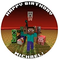 Minecraft Edible Image Cake Topper Birthday Cake 8 Inch Round PERSONALIZED FREE!